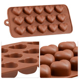 15 Cavity Silicone Hear-shaped Baking MoldGold Ribbon Cake