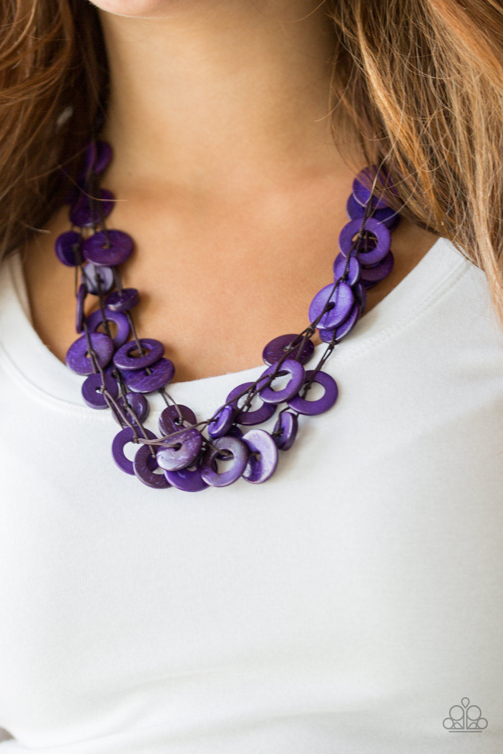 Paparazzi - Wonderfully Walla Walla - Purple Wood Necklace - Classy Jewels by Linda