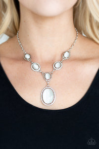 Paparazzi - Metro Medallion - White Necklace Set - Classy Jewels by Linda