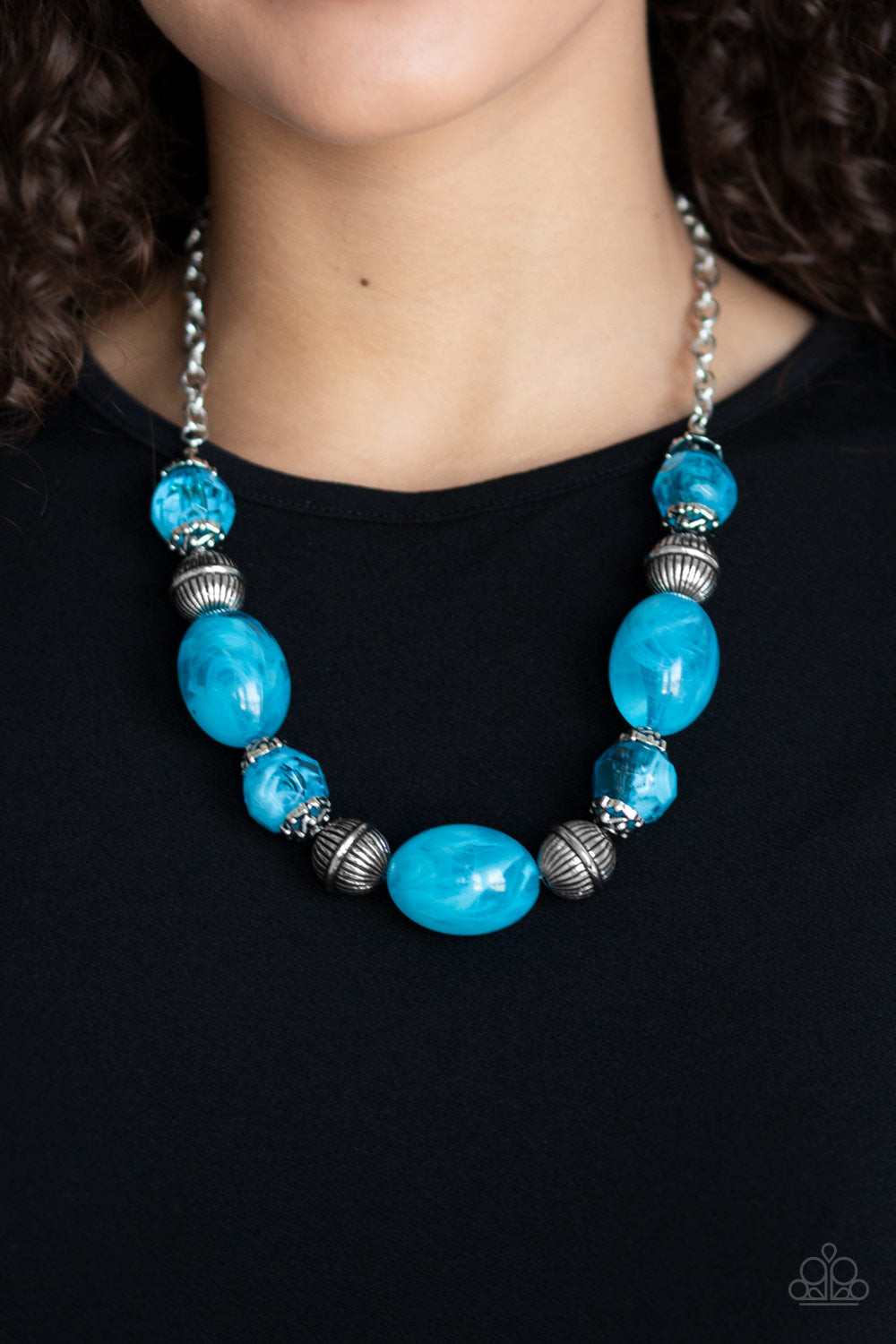 Paparazzi - Ice Melt - Blue Necklace Set - Classy Jewels by Linda