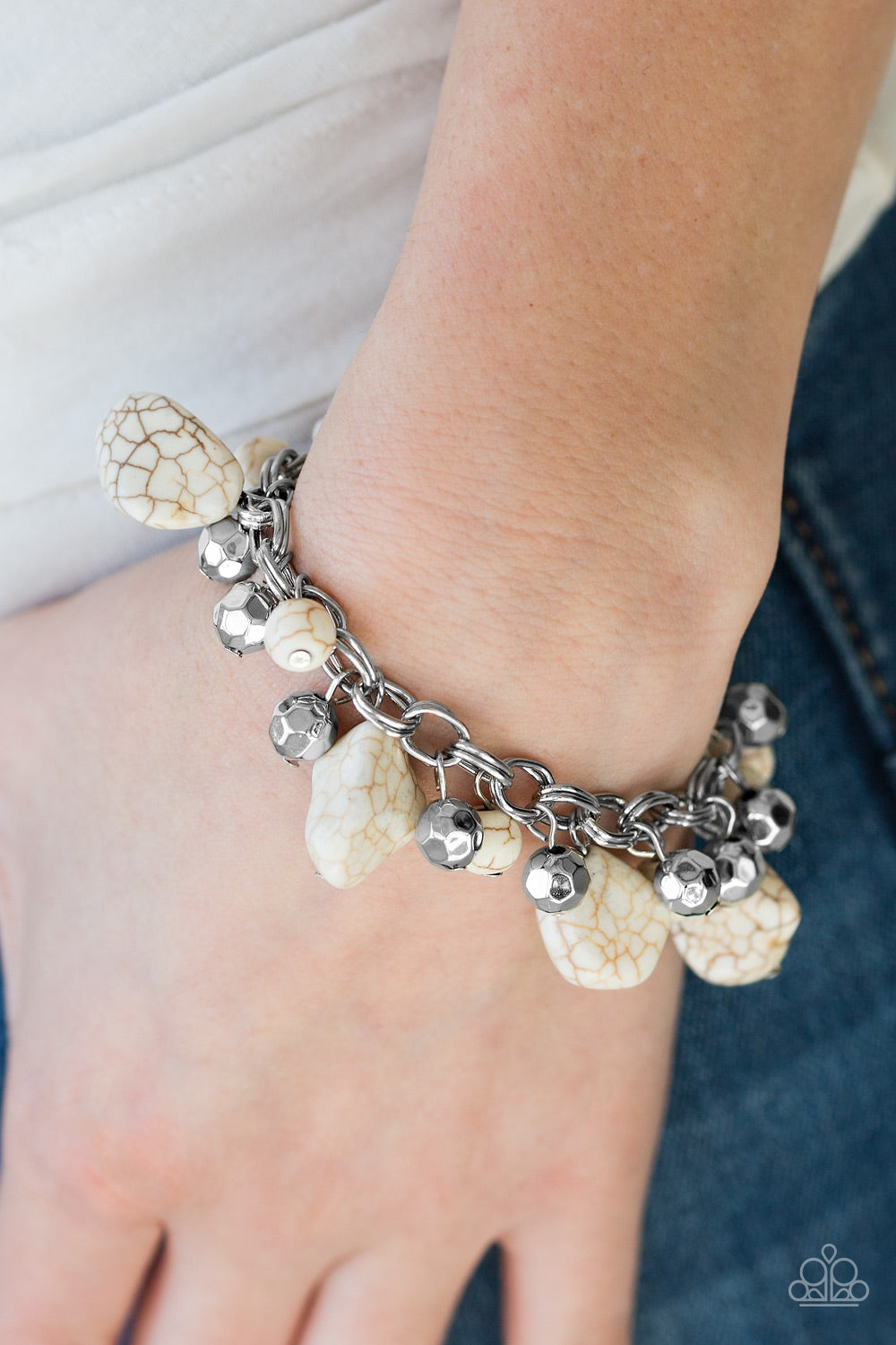 Paparazzi - Practical Paleo - White Bracelet - Classy Jewels by Linda