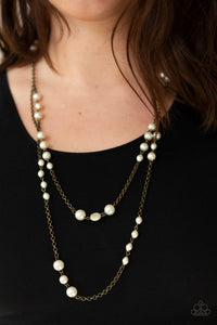 Paparazzi - Pearl Promenade - Brass Necklace Set - Classy Jewels by Linda
