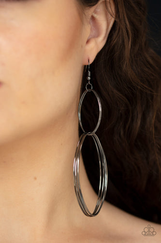 Paparazzi - Getting Into Shape - Black Earrings - Classy Jewels by Linda