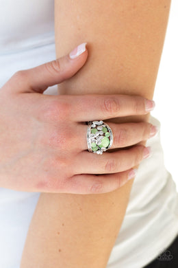 Paparazzi - FLUTTER Me Up - Green Ring - Classy Jewels by Linda