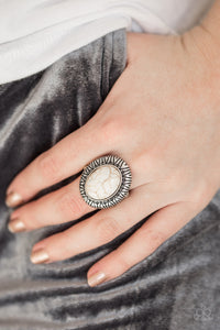 Paparazzi - Surfin Sand Dunes - White Ring - Classy Jewels by Linda