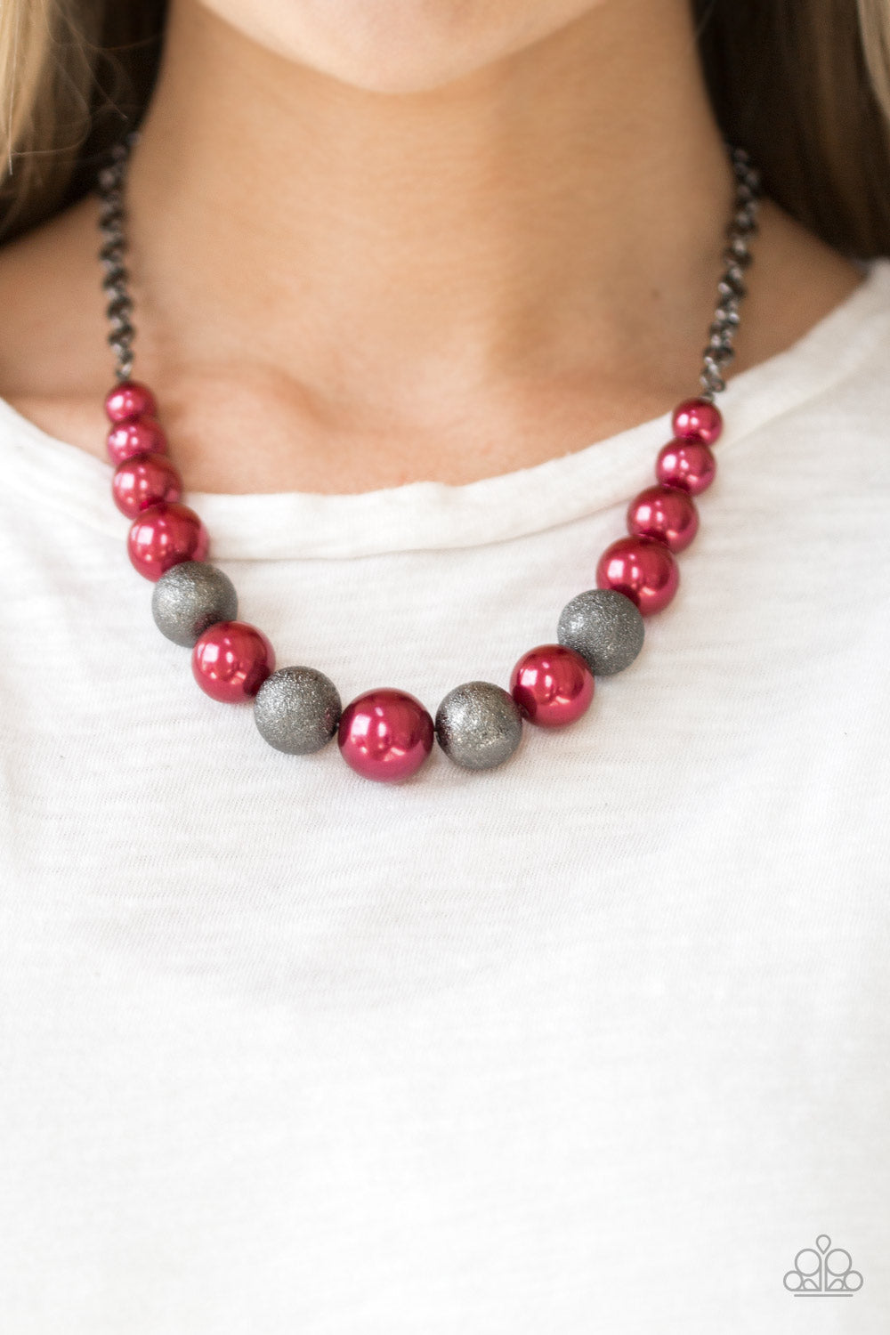 Paparazzi - Color Me CEO - Red  Necklace Set - Classy Jewels by Linda
