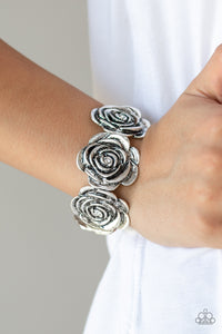Paparazzi - Floral Flamboyancy - White Bracelet - Classy Jewels by Linda