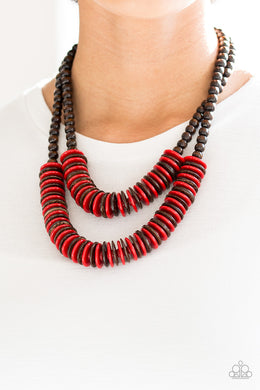 Paparazzi - Dominican Disco - Red Wood Necklace Set - Classy Jewels by Linda