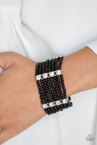 Paparazzi - Get In Line - Black Bracelet - Classy Jewels by Linda