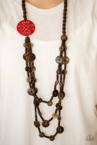 Paparazzi - Jungle Jive - Red Wood Necklace Set - Classy Jewels by Linda