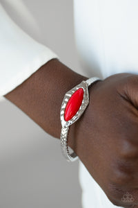 Paparazzi - Mason Minimalism - Red Bracelet - Classy Jewels by Linda