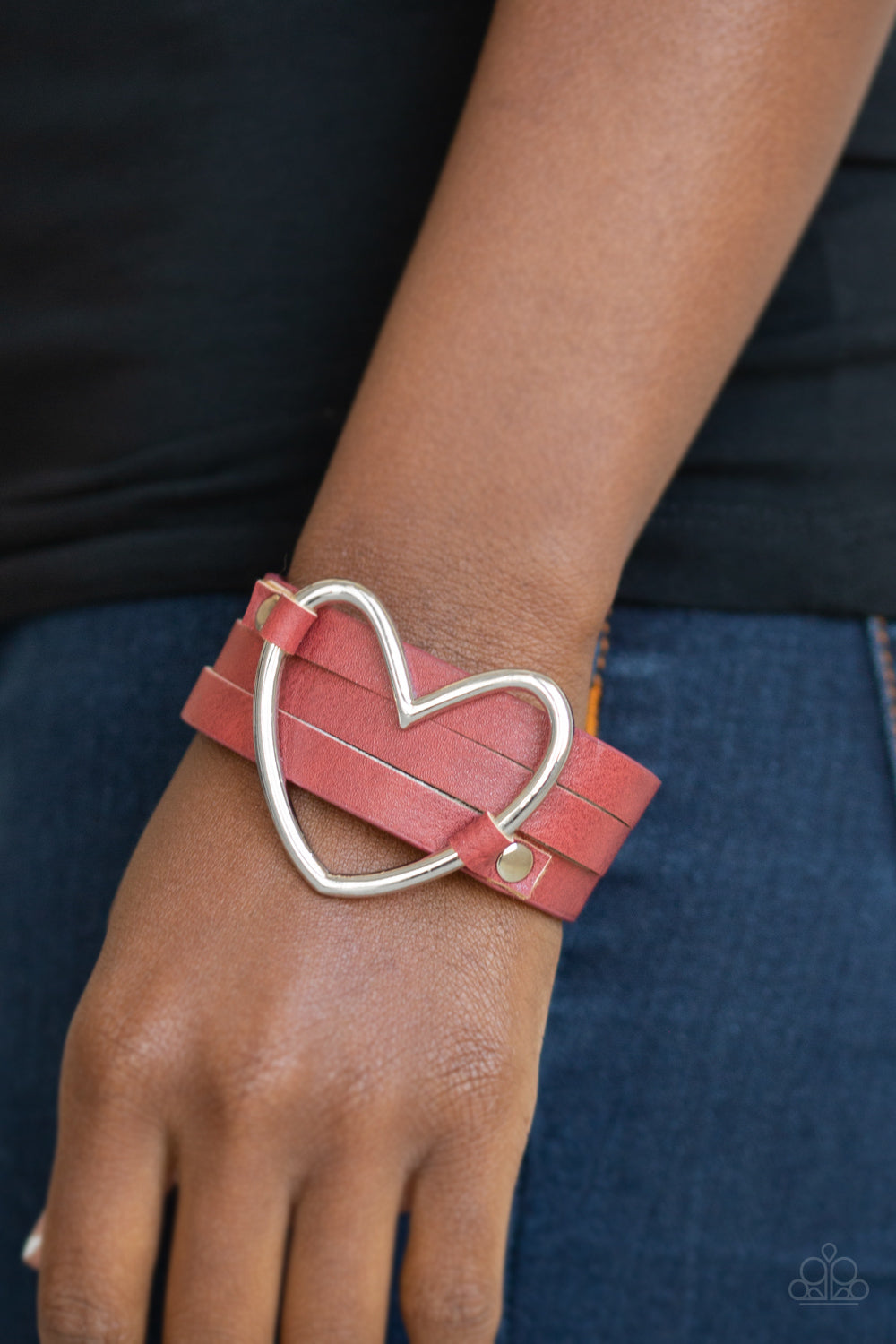 Paparazzi - One Love, One Heart - Red Bracelet - Classy Jewels by Linda