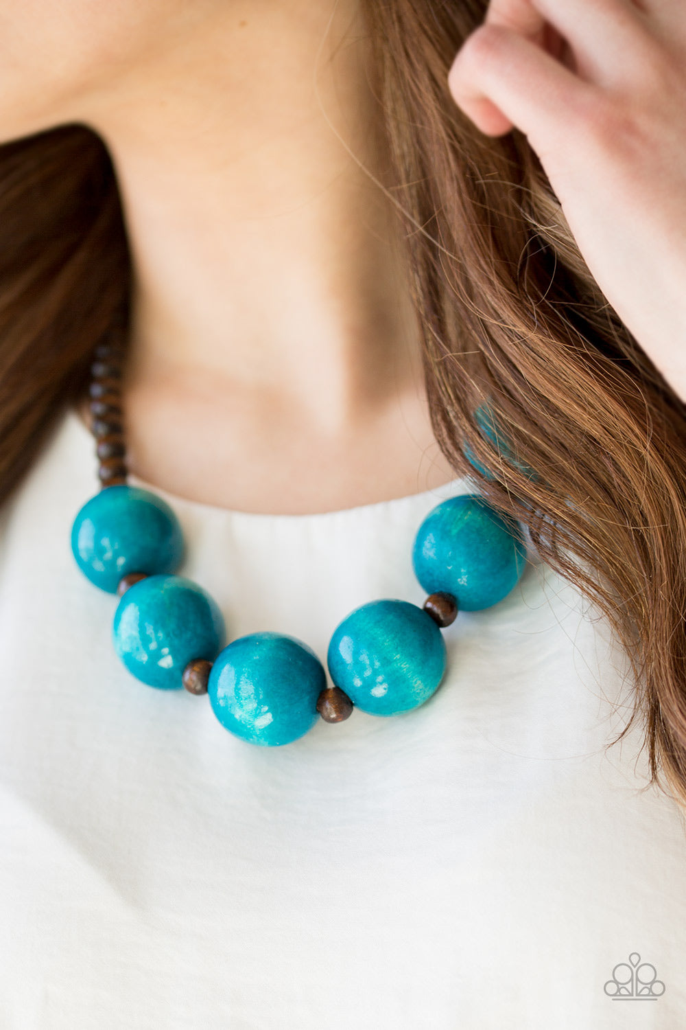 Paparazzi - Oh My Miami - Blue Wood Necklace Set - Classy Jewels by Linda