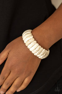 Paparazzi - Peacefully Primal - White Bracelet - Classy Jewels by Linda