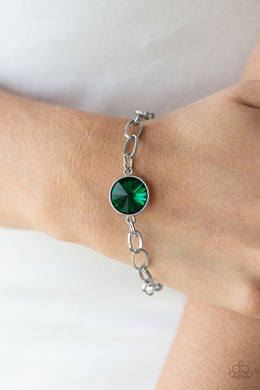 Paparazzi - All Aglitter - Green Bracelet - Classy Jewels by Linda