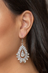 Paparazzi - Boss Brilliance - White Earrings - Classy Jewels by Linda
