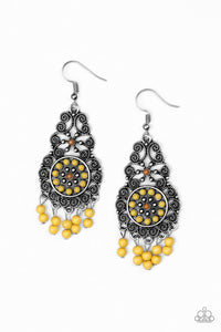 Paparazzi - Courageously Congo - Yellow Earrings - Classy Jewels by Linda