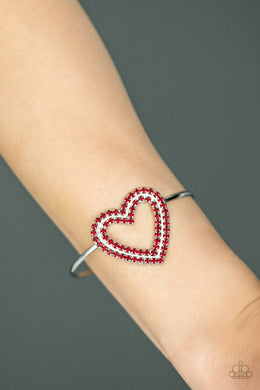 Paparazzi - Heart Opener - Red Bracelet - Classy Jewels by Linda