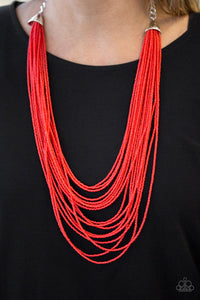 Paparazzi - Peacefully Pacific - Red Necklace Set - Classy Jewels by Linda