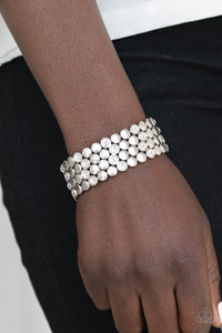 Paparazzi - Scattered Starlight - White Bracelet - Classy Jewels by Linda