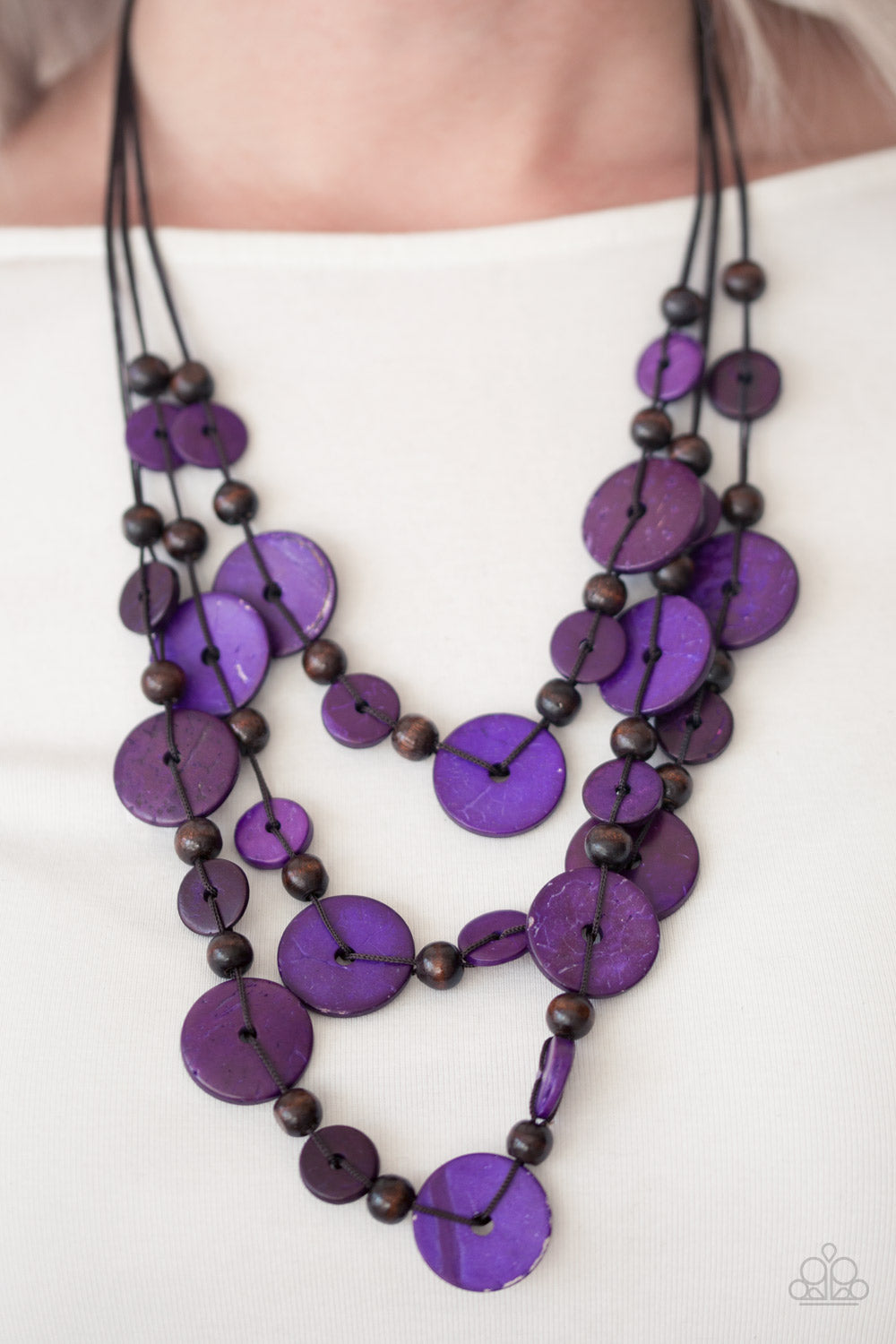 Paparazzi - South Beach Summer - Purple Wood Necklace Set - Classy Jewels by Linda