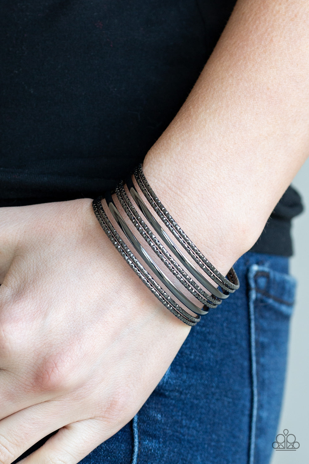 Paparazzi - Stack Shack - Black Bracelet - Classy Jewels by Linda