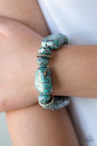 Paparazzi - Stone Age Envy - Blue Bracelet - Classy Jewels by Linda