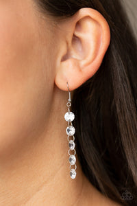 Paparazzi - Trickle-Down Effect - White Earrings - Classy Jewels by Linda