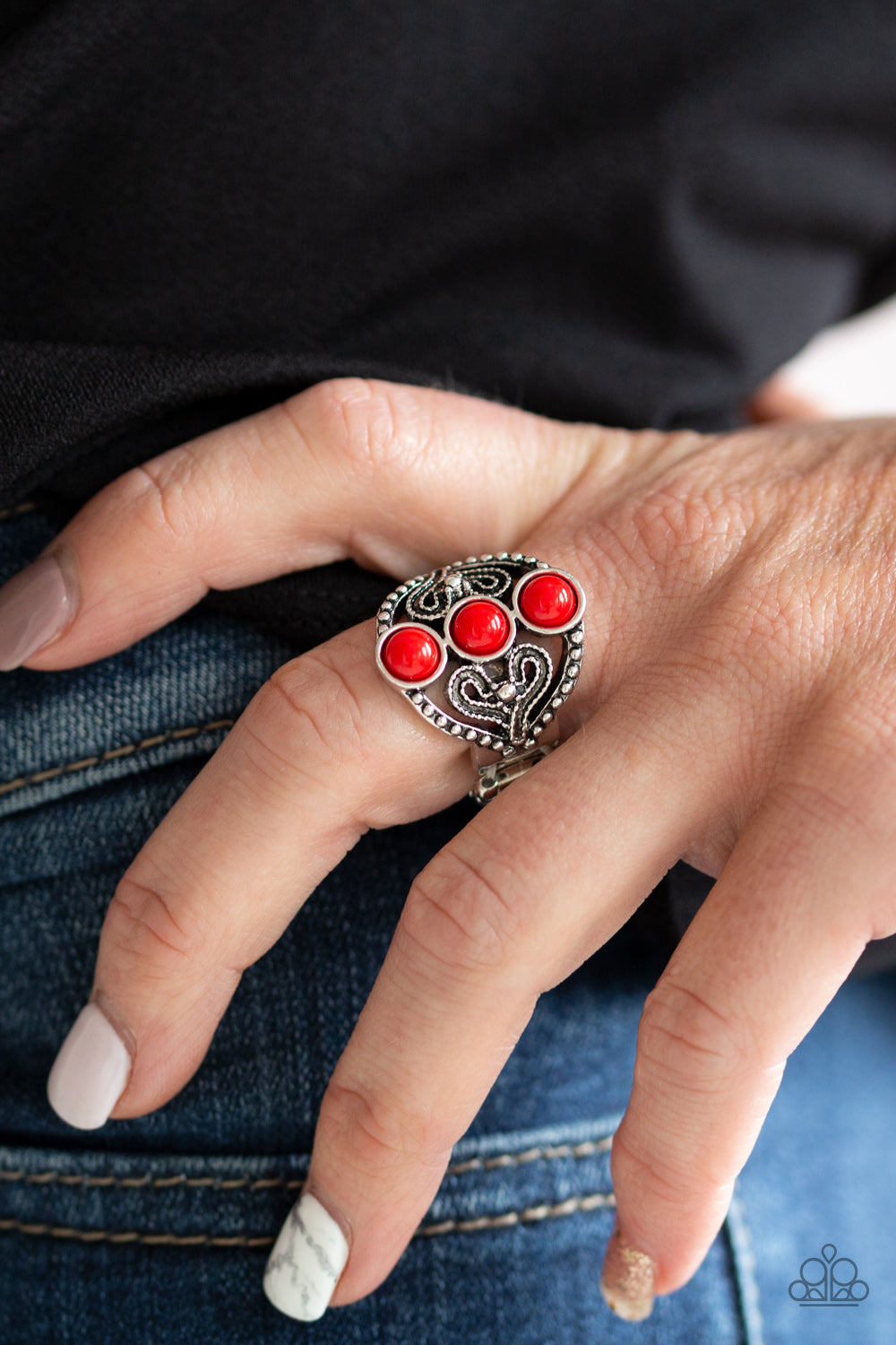 Paparazzi - Triple Whammy - Red Ring - Classy Jewels by Linda