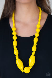 Paparazzi -Summer Breezin - Yellow Wood Necklace Set - Classy Jewels by Linda