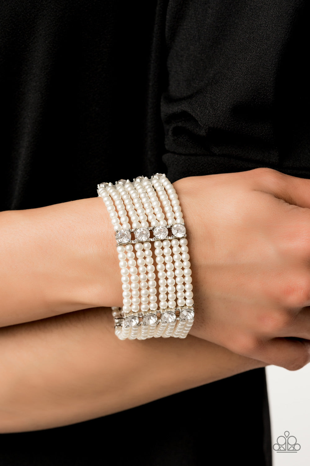 Paparazzi - Get In Line - White Bracelet - Classy Jewels by Linda