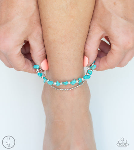 Paparazzi - Beach Expedition - Blue Anklet - Classy Jewels by Linda