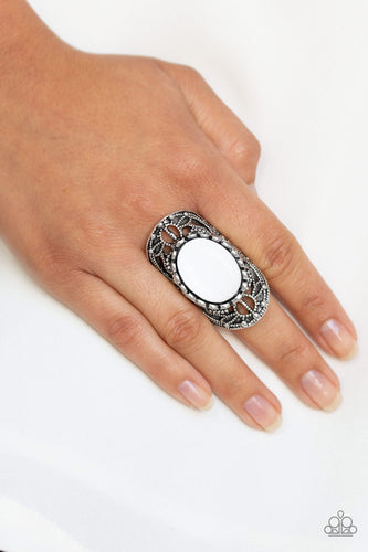 Paparazzi - Drama Dream - White Ring - Classy Jewels by Linda
