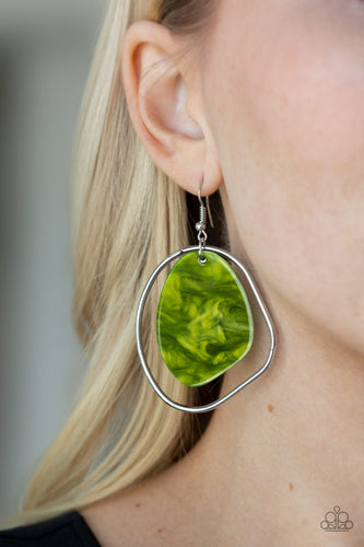 Paparazzi - HAUTE Toddy - Green Acrylics Earrings - Classy Jewels by Linda