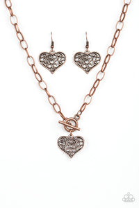 Paparazzi - Heart-Touching Harmony - Copper Necklace Set - Classy Jewels by Linda
