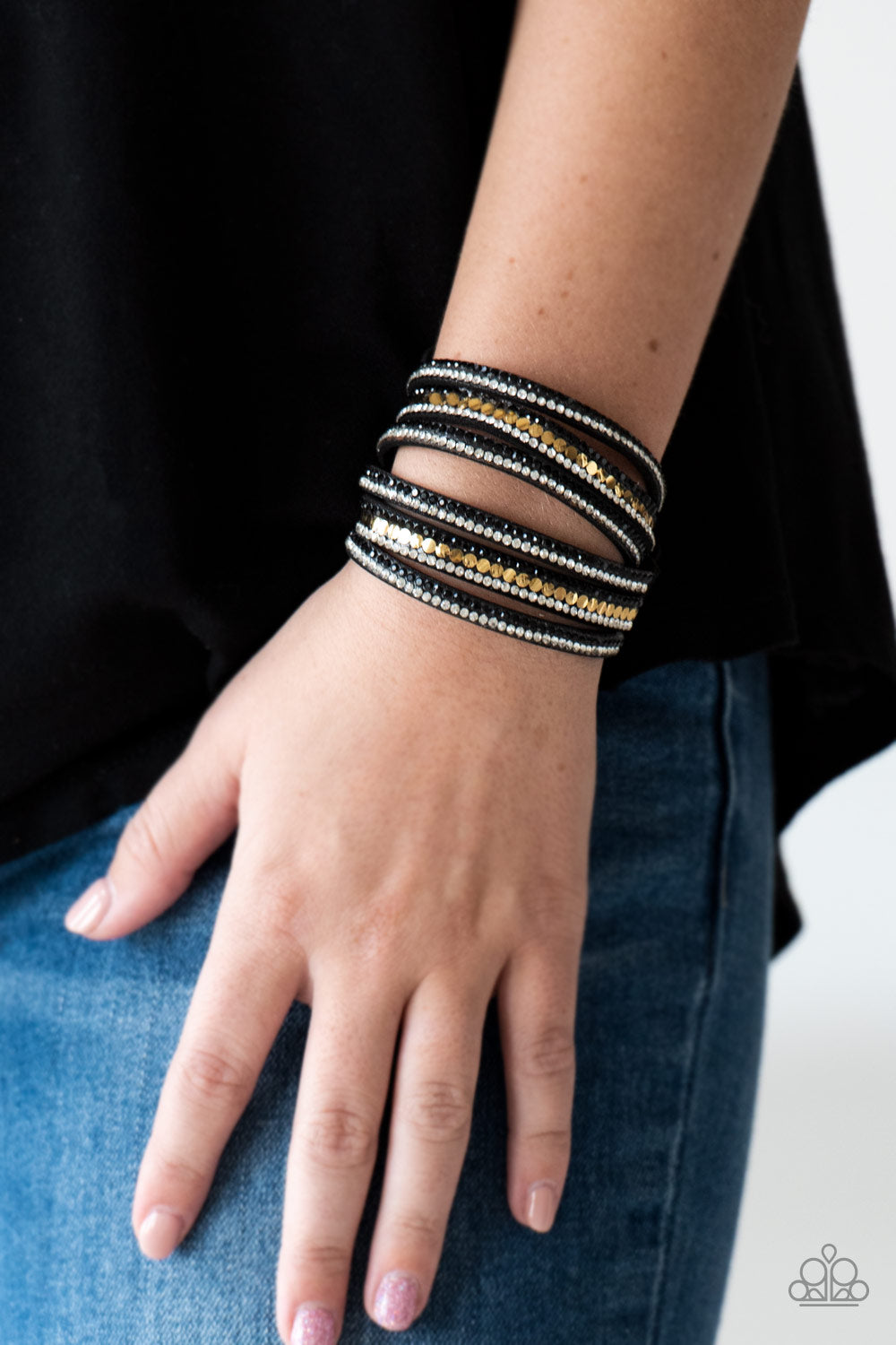 Paparazzi - Rock Star Attitude - Black Bracelet - Classy Jewels by Linda