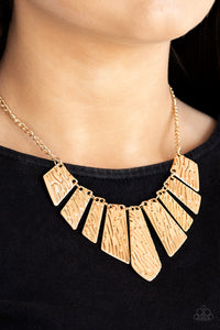 Paparazzi - Texture Tigress - Gold Necklace Set - Classy Jewels by Linda