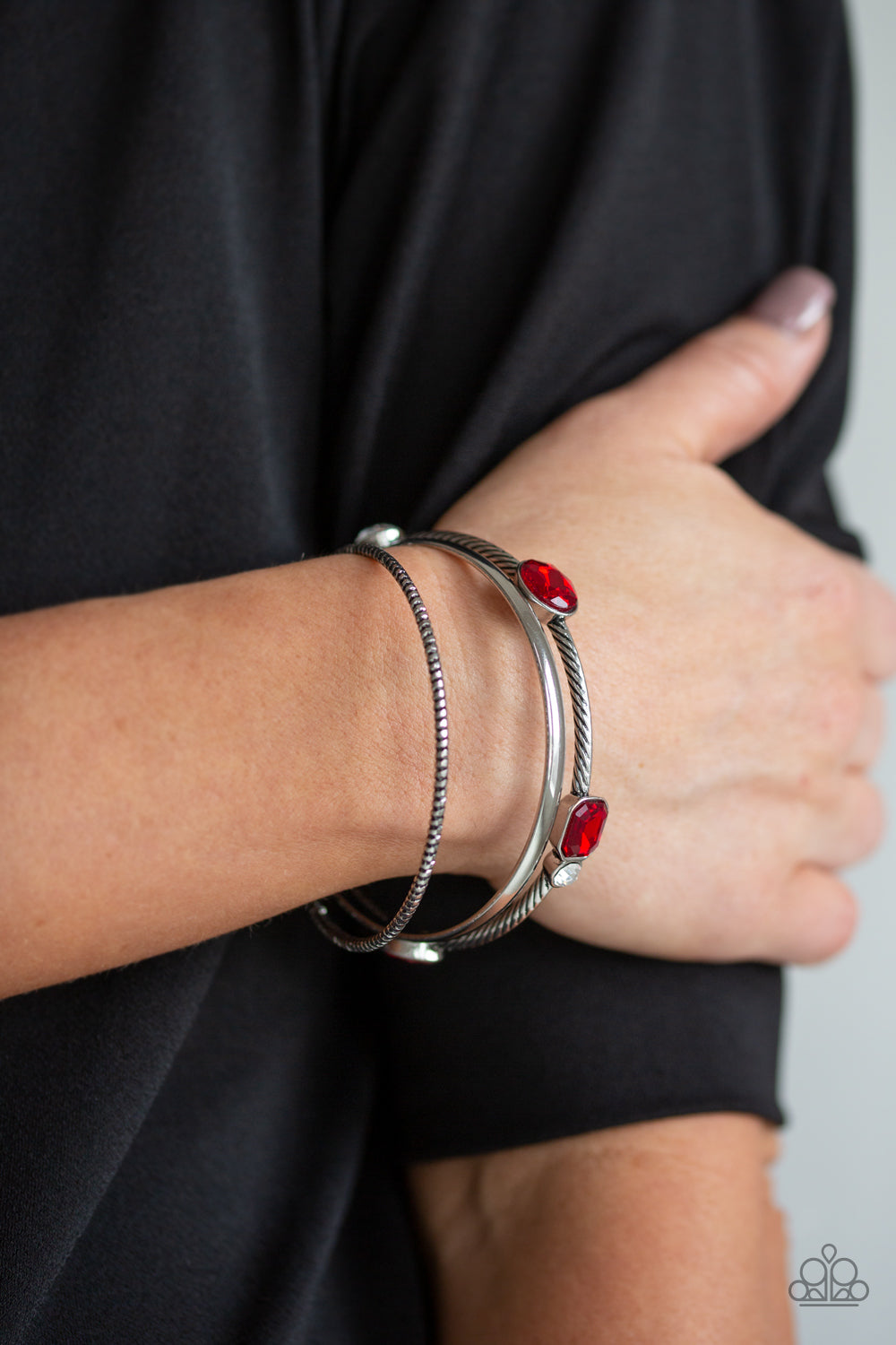 Paparazzi - City Slicker Sleek - Red Bracelet - Classy Jewels by Linda