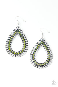 Paparazzi - Mechanical Marvel - Green Earrings - Classy Jewels by Linda