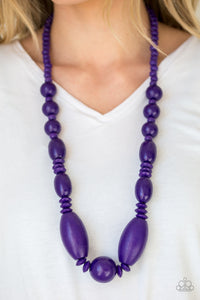 Paparazzi - Summer Breezin - Purple Wood Necklace Set - Classy Jewels by Linda