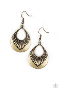 Paparazzi - Totally Terrestrial - Brass Earrings - Classy Jewels by Linda