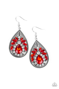 Paparazzi - Candlelight Sparkle - Red Earrings - Classy Jewels by Linda