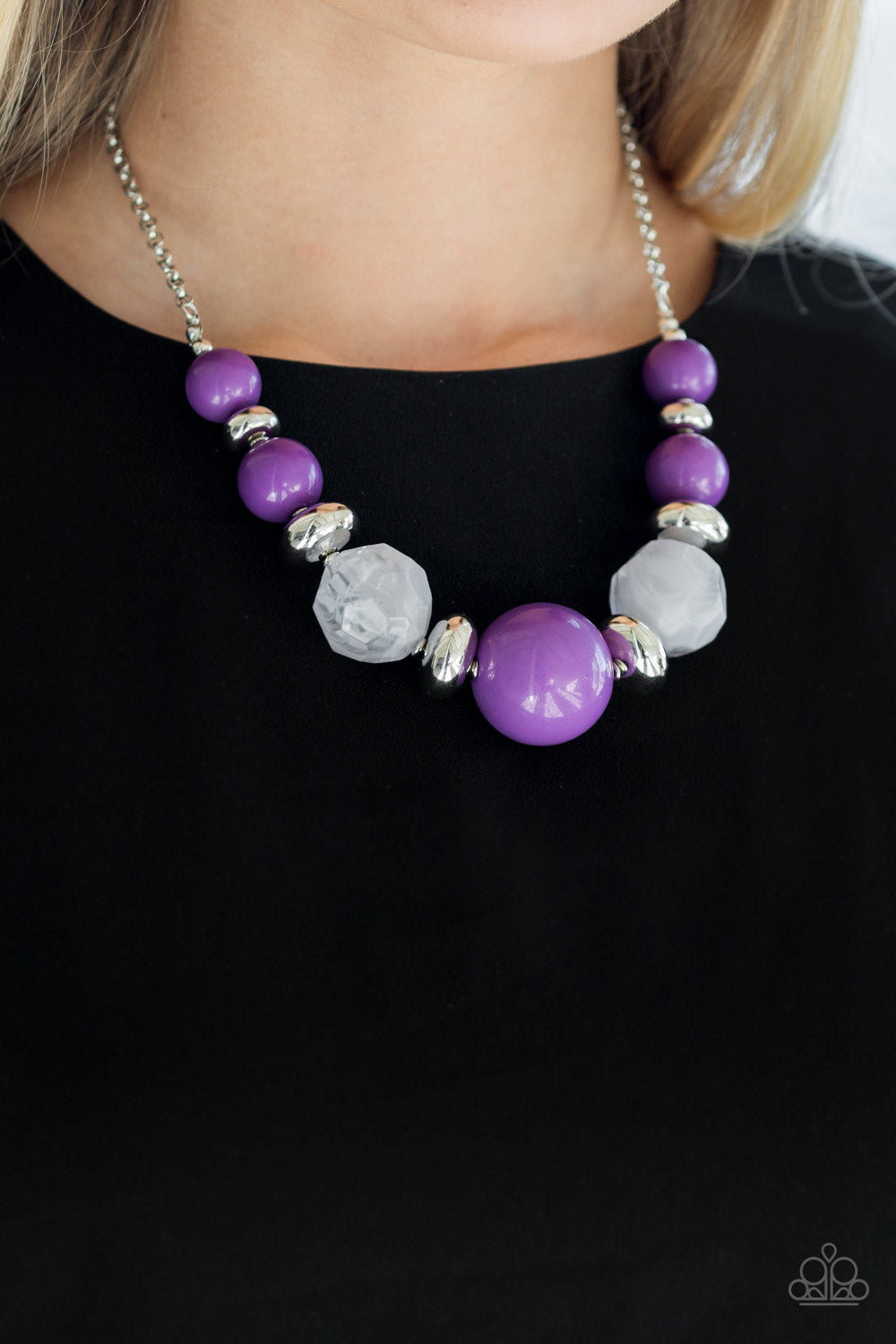 Paparazzi - Daytime Drama - Purple Necklace Set - Classy Jewels by Linda
