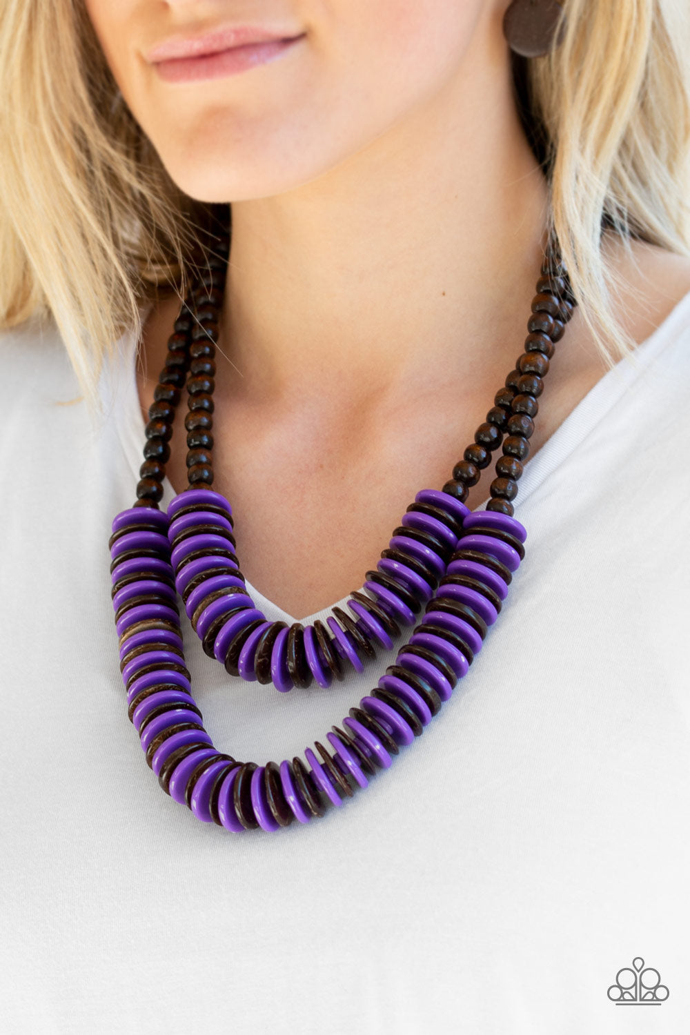 Paparazzi - Dominican Disco - Purple Wood Necklace Set - Classy Jewels by Linda