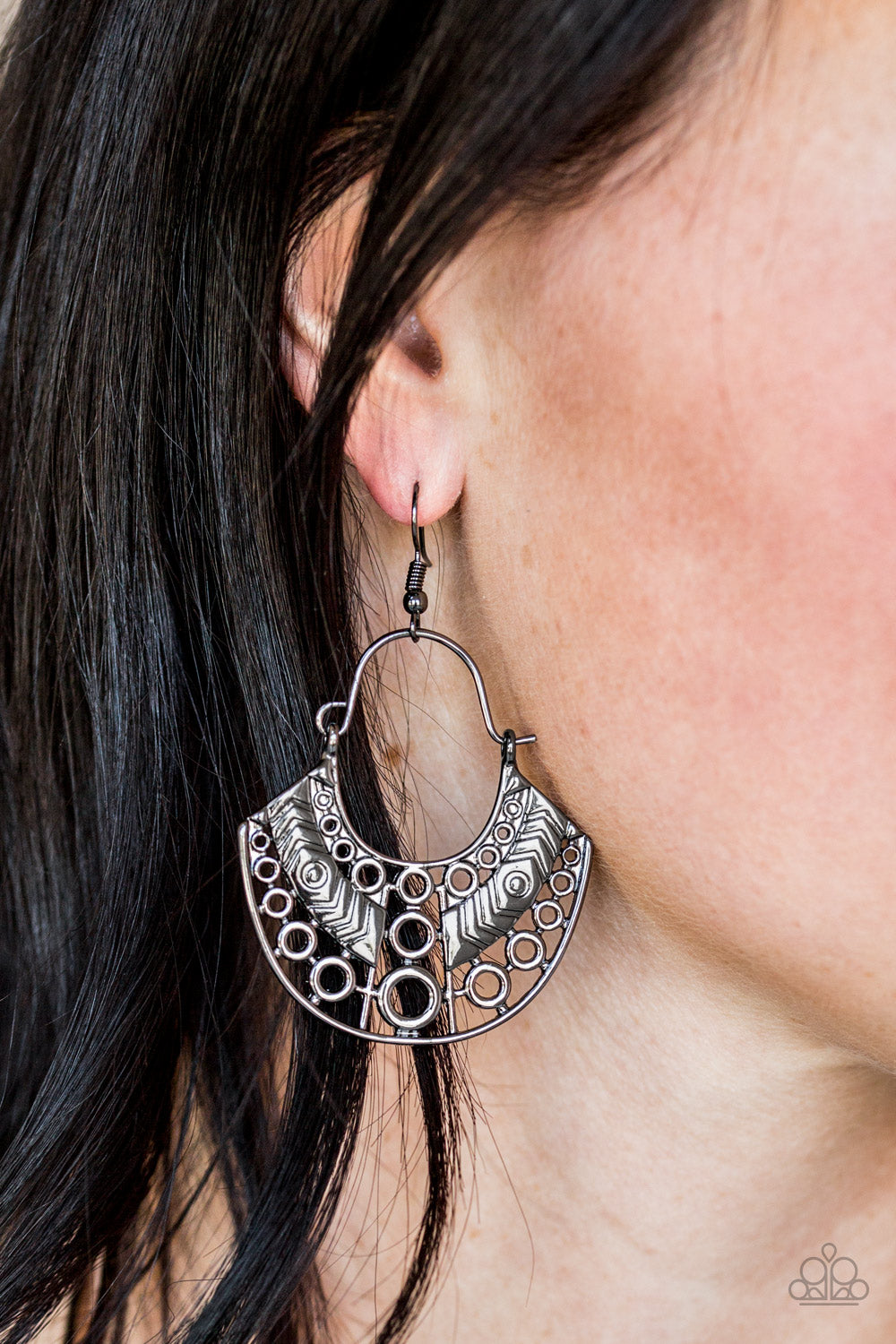 Paparazzi - Indigenous Idol - Black Earrings - Classy Jewels by Linda
