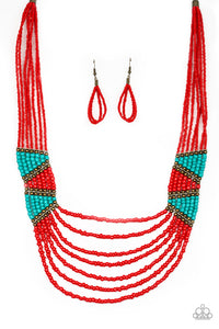 Paparazzi - Kickin It Outback - Red Seed Beads Necklace Set - Classy Jewels by Linda
