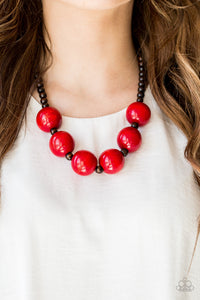 Paparazzi - Oh My Miami - Red Wood Necklace Set - Classy Jewels by Linda