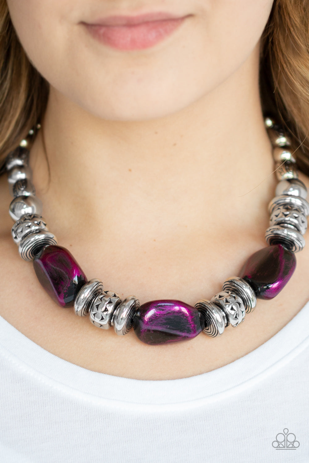 Paparazzi - Colorfully Confident - Purple Necklace Set - Classy Jewels by Linda