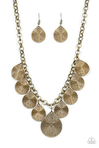 Paparazzi - Texture Storm - Brass Necklace Set - Classy Jewels by Linda