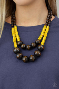 Paparazzi - Cancun Cast Away - Yellow Wood Necklace Set - Classy Jewels by Linda